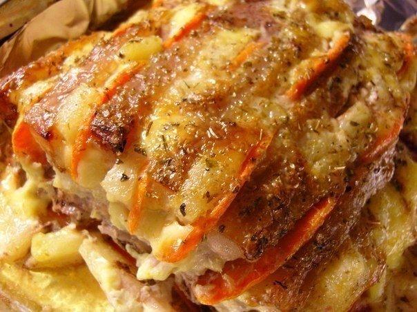 Мясо с ананасом и сыром в духовке рецепт с пошагово в